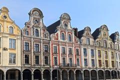 Historiska gavlar på Grand Place i arrasen, Frankrike royaltyfri bild