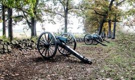 Historiska Gettysburg inbördeskrigkanoner Royaltyfria Foton