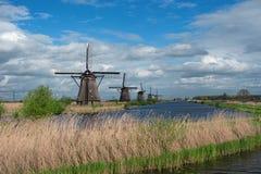 Historiska holländska väderkvarnar, Kinderdijk, Nederländerna Arkivfoto