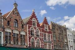 Historiska hus Bruges Belgien Arkivfoto