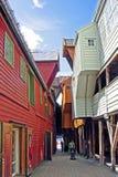 Historiska hus i Bergen (Norge) arkivfoto
