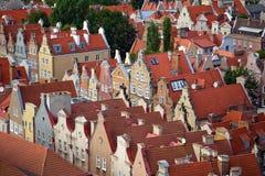 Historiska hus i gammal town av Gdansk Arkivbild