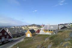 Historiska hus Nuuk, Grönland Arkivfoton