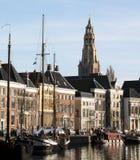 Historiska hus och fartyg Arkivfoto