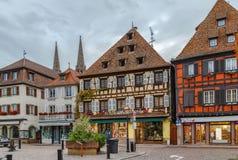 Historiska hus på Obernai, Alsace, Frankrike Arkivbild