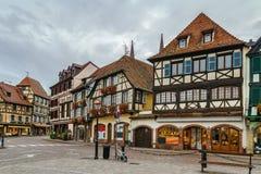 Historiska hus på Obernai, Alsace, Frankrike Royaltyfria Foton