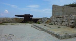 Historiska kanoner i fortet Arkivfoton