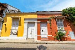 Historiska koloniala byggnader i Cartagena Royaltyfri Fotografi