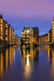 Historiska lager i Hamburg Arkivfoto