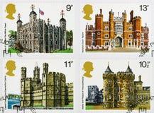 historiska portostämplar för brittiska buidlings Royaltyfri Bild