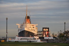 Historiska Queen Mary i Long Beach, Kalifornien Arkivbilder