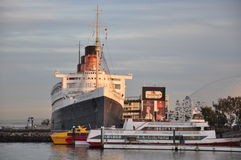 Historiska Queen Mary i Long Beach, Kalifornien Royaltyfria Foton
