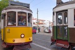 Historiska spårvagnar i Lissabon Arkivbilder