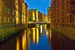 Historiska Speicherstadt (lagerområde) i Hamburg Royaltyfri Bild