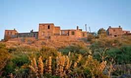 Historiska stenhus på Behramkale - Turkiet Arkivfoto