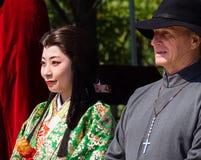 Historiska tecken på den Nobunaga festivalen i Gifu, Japan Royaltyfri Foto