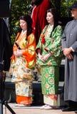 Historiska tecken på den Nobunaga festivalen i Gifu, Japan Arkivfoto