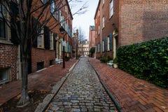 Historiska tegelstenbyggnader i samhällekulle i Philadelphia, Pennsy Royaltyfri Bild