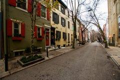 Historiska tegelstenbyggnader i samhällekulle i Philadelphia, Pennsy Royaltyfri Fotografi