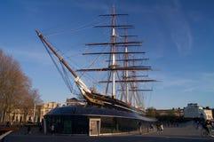 Historiskt brittiskt skepp som parkeras i skeppsdocka arkivfoto