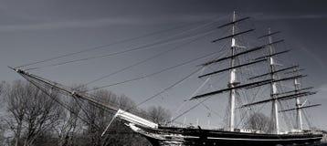 Historiskt brittiskt skepp som parkeras i skeppsdocka i London Europa Britannien royaltyfri fotografi