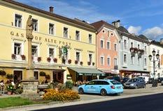 Historiskt centrum Gmuend i Kaernten, Carinthia, Österrike royaltyfri fotografi