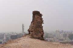 Historiskt fördärvar av det Bhatner fortet på Hanumangarh i Rajasthan, 1700 år gammalt fort Arkivbild