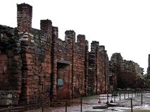 Historiskt fördärvar av San Ignacio Mini, i den Argentina staden av San Ig Arkivbilder