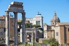 Historiskt frilufts- museum Roman Forum i Rome fotografering för bildbyråer