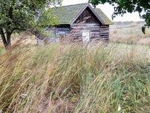 Historiskt gammalt lantbrukarhem med ridit ut trä i ett fält Arkivfoton
