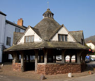Dunster Somerset England marknadsför historiskt garn Fotografering för Bildbyråer