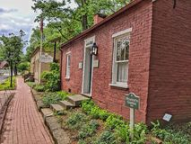 Historiskt hantverkarehus Roscoe Village Coshocton, Ohio fotografering för bildbyråer