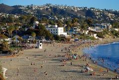 Historiskt hotell Laguna och huvudsaklig strand av Laguna Beach, Kalifornien Arkivfoto