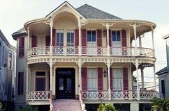 Historiskt hus för drottningAnne Victorian i Gaveston, Texas Arkivbilder