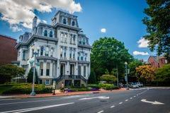 Historiskt hus längs Logan Circle, i Washington, DC Arkivbild