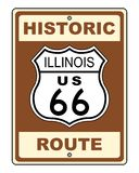 historiskt illinois routetecken för 66 Royaltyfri Bild