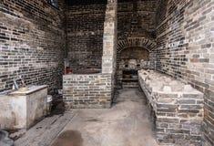 Historiskt kök på Tai Fu Tai Ancestral Home, Hong Kong China royaltyfri foto