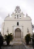 Historiskt kyrkligt tillträde och fasad Merida, Mexico royaltyfri bild
