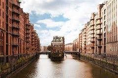 Historiskt lagerområde Speicherstadt i Hamburg, Tyskland Arkivbild