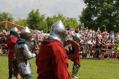 Historiskt medeltida, rekonstruktion royaltyfria foton