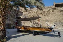 Historiskt museum i Dubai Traditionell arabisk Dhow Dubai royaltyfri fotografi