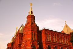 Historiskt museum i Moskva på aftonen fotografering för bildbyråer