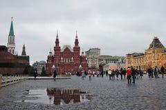 Historiskt museum och Lenins mausoleum i Moskva, Ryssland Fotografering för Bildbyråer
