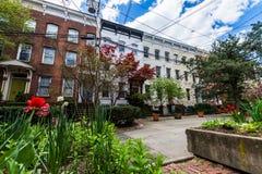 Historiskt område av domstolgatan i den Wooster fyrkanten i New Haven arkivfoton