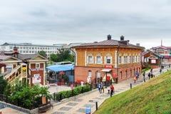 historiskt område för 130-thfjärdedel i Irkutsk Ryssland Arkivfoto