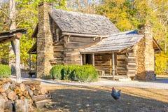 Historiskt rökigt berglantgårdhus och vedträkoja Royaltyfri Bild