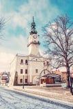 Historiskt stadshus i den huvudsakliga fyrkanten, Kezmarok, Slovakien, skönhet fi Royaltyfri Bild