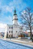 Historiskt stadshus i den huvudsakliga fyrkanten, Kezmarok, Slovakien, vintersc Arkivfoto