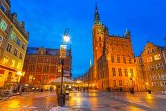 Historiskt stadshus i gammal stad av Gdansk Royaltyfri Bild