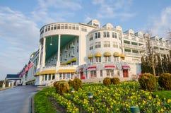 Historiskt storslaget hotell på den Mackinac ön Arkivbild